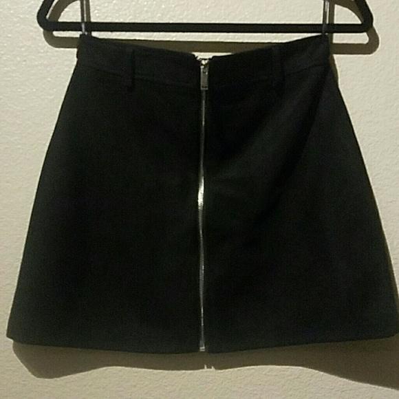 Forever 21 Dresses & Skirts - Forever 21 M Black Skirt Front Silver Zipper
